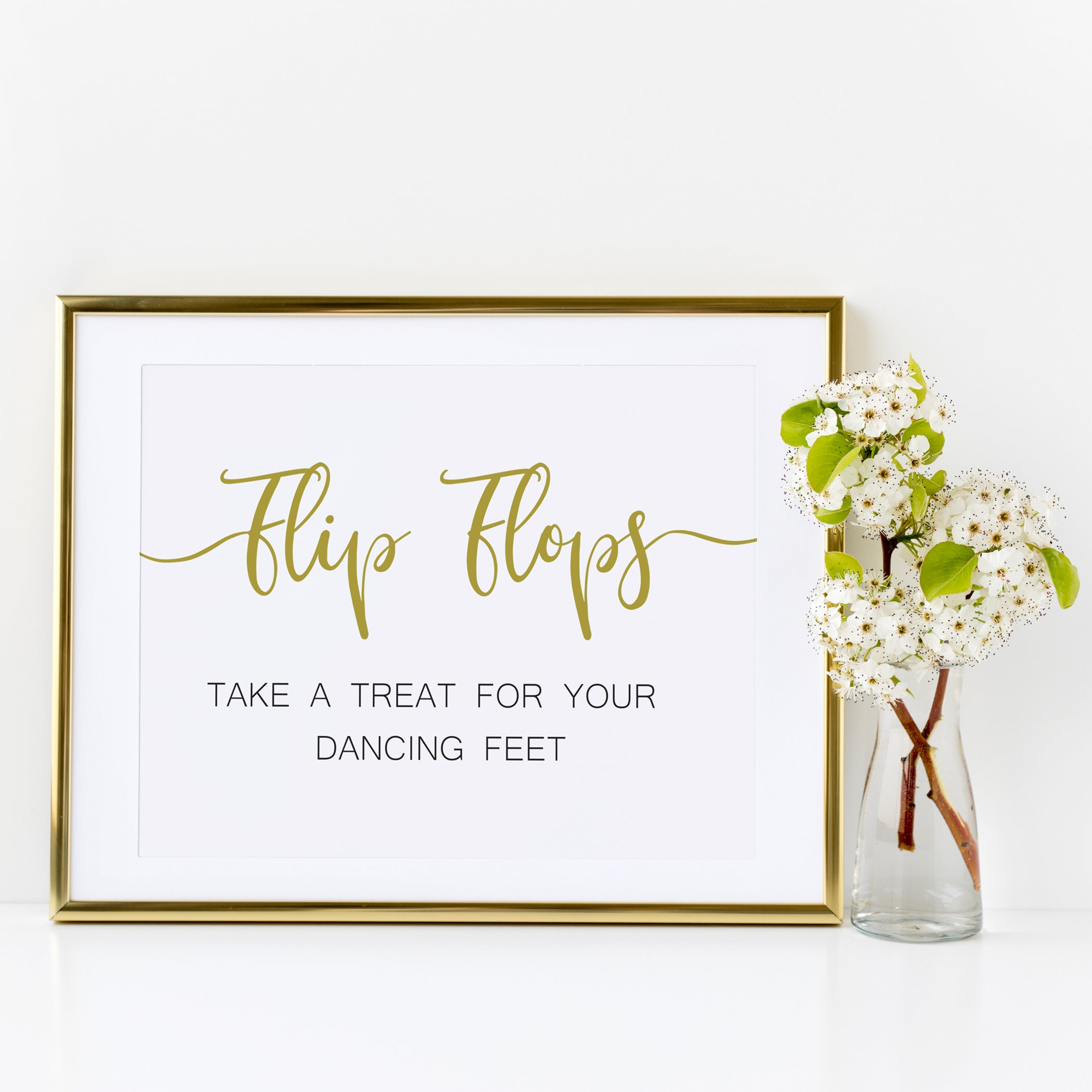 764b153288415a Gold Flip Flops Wedding sign
