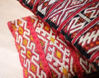 Set of two moroccan vintage handmade kilim cushions