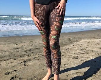 b871a34d193ff Viking Rune BROWN Leggings - Norse Celtic Festival Tribal Yoga Pants