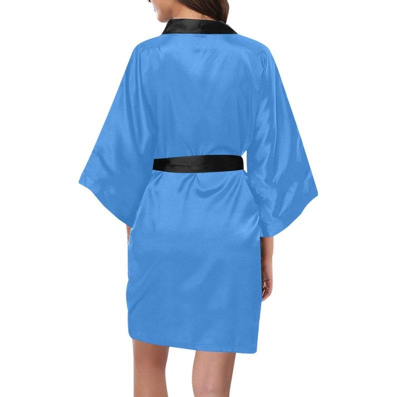 Bridesmaid Robes Luxurious Short Kimono Robe  Baby Blue