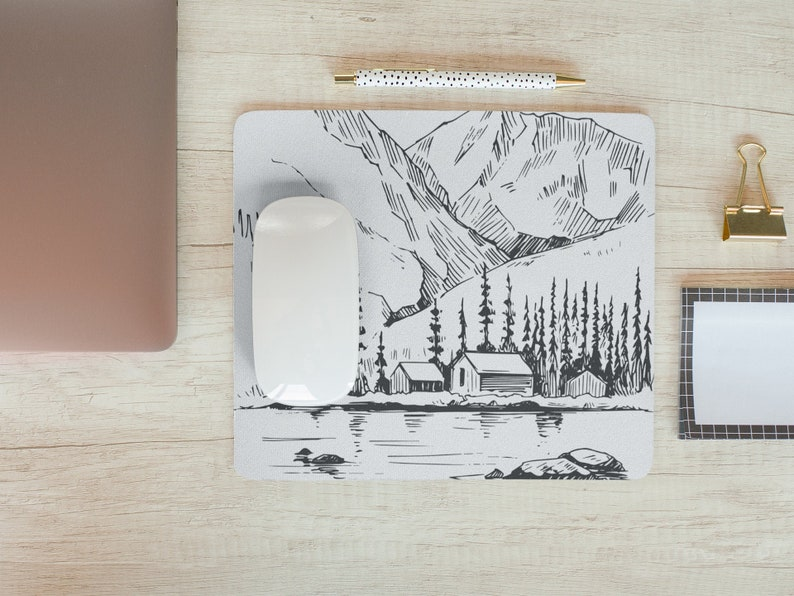 Mouse Pad Mountains MousePad Office Nature Mouse Pad Lake Forest Sketch Desk Accessories Mouse Pad Gift for Coworker A1097