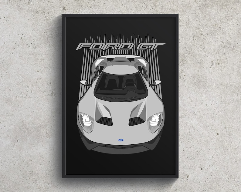 exotic car art Ford GT Art Ford GT EcoBoost Print Ford GT Poster  Silver garage poster