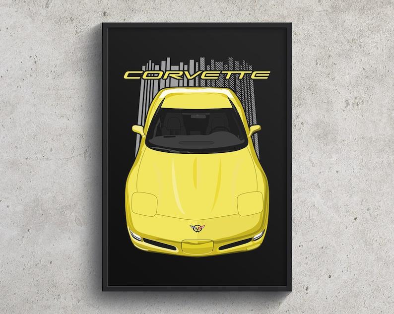 Garage decor Corvette C5 Wall Art Gifts for him Chevrolet Corvette C5 Poster  Yellow