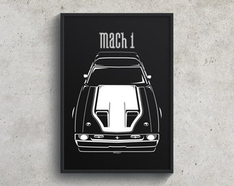 Ford Mustang Mach 1 1971-1972 - White Stripe Poster, Mach1 Wall Art Gifts - Car Guy Gift - Gifts for Him - Man Cave Decor - Auto Art