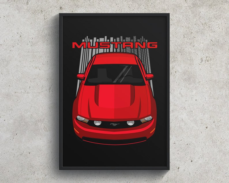 Mustang Gifts Mustang Wall Art Mustang GT Poster Ford Mustang GT 2010 to 2012 Poster  Red
