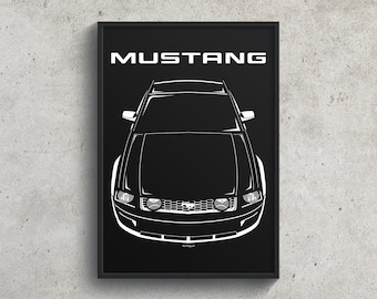 Ford Mustang S197 2005-2009 Poster, Mustang Wall Art Garage Decor Print Gifts - Car Guy Gift - Gifts for Him - Man Cave Decor - Auto Art