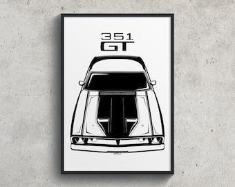 Ford Falcon XB GT 351 - Black Poster, Ford Falcon Garage Decor Wall Art Gifts - Car Guy Gift - Gifts for Him - Man Cave Decor - Auto Art