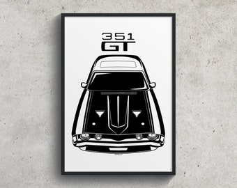 Ford Falcon XA GT 351 - Black Poster, Falcon 351 Garage Decor Wall Art Gifts - Car Guy Gift - Gifts for Him - Man Cave Decor - Auto Art