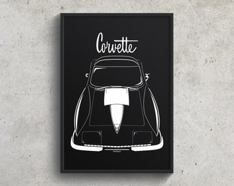 Chevrolet Corvette C2 Stingray - White Stripe Poster - Wall Art Prints and Gifts - Car Guy Gift - Gifts for Him - Man Cave Decor - Auto Art