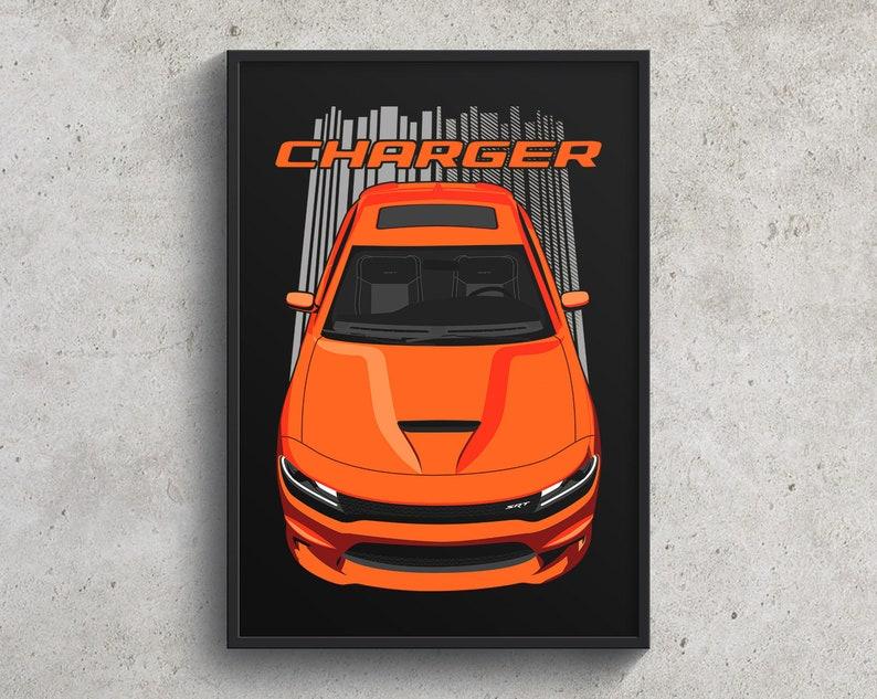 Dodge Charger SRT Daytona Poster  Orange charger wall art charger decor cars art