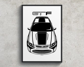 Ford Falcon GT-F 351 - Black Stripe Poster, GT-F 351 Garage Decor Wall Art Gifts - Car Guy Gift - Gifts for Him - Man Cave Decor - Auto Art