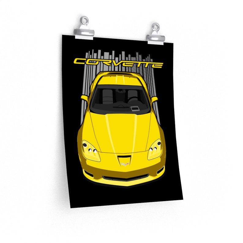 Car Print Cars Corvette Gifts Chevrolet Corvette C6 Z06 Poster  Yellow Corvette Poster Wall Decor