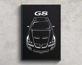 Pontiac G8 2008-2009 Poster, G8 Wall Art Gifts, Muscle Cars Print Garage Decor - Car Guy Gift - Gifts for Him - Man Cave Decor - Auto Art