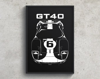 Ford GT40 Gulf Edition Poster, Ford GT40 Garage Decor Wall Art Gifts, Classic GT - Car Guy Gift - Gifts for Him - Man Cave Decor - Auto Art
