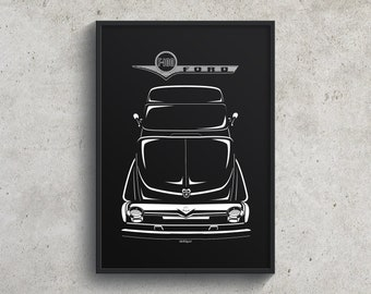 Ford F100 2nd gen Poster, F100 Classic Ford Pickup Garage Decor Wall Art Gifts - Car Guy Gift - Gifts for Him - Man Cave Decor - Auto Art
