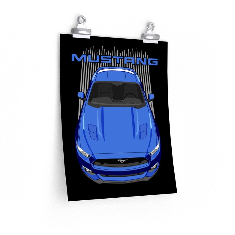 Mustang GT Poster Ford Mustang GT 2015 to 2017 S550 Poster  White Mustang Wall Art