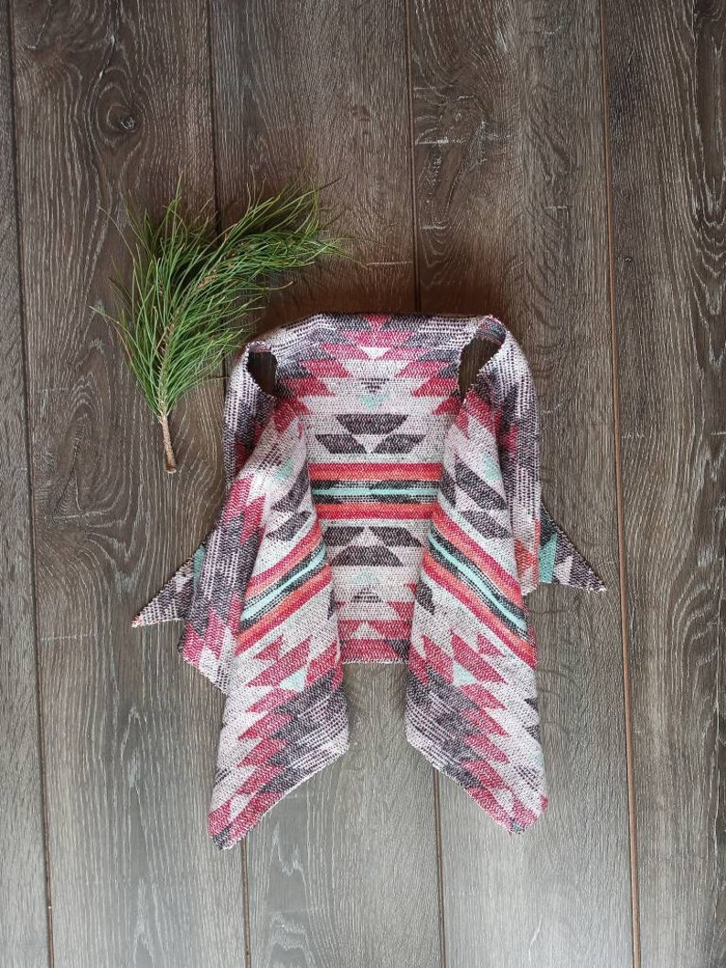 Southwestern Toddler  Girls Reversible Western Vest  Festival Style Waterfall Vest   Dusty Rose Aztec Print