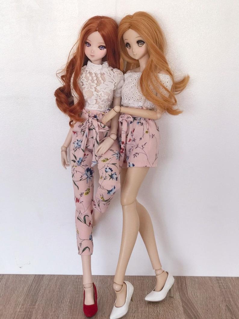 Smartdoll New Peach Floral Tie Sash Pants