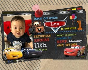 Disney Cars Invitation, Cars Printable Invite, Lightning McQueen Invitation, Cars Birthday printable invitation, Cars Party
