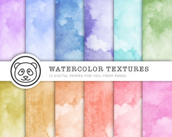 Watercolor digital paper: WATERCOLOR TEXTURES with rainbow colored watercolor / watercolour digital papers suitable for print and web