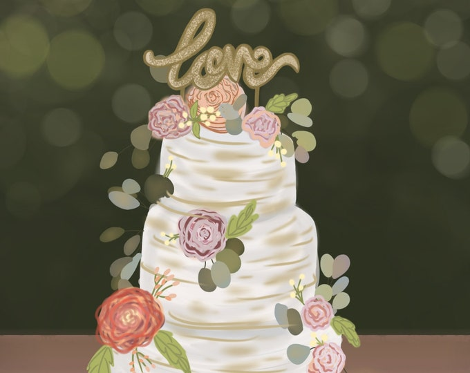 Love Wedding Cake | Wedding Card | 4x5.5