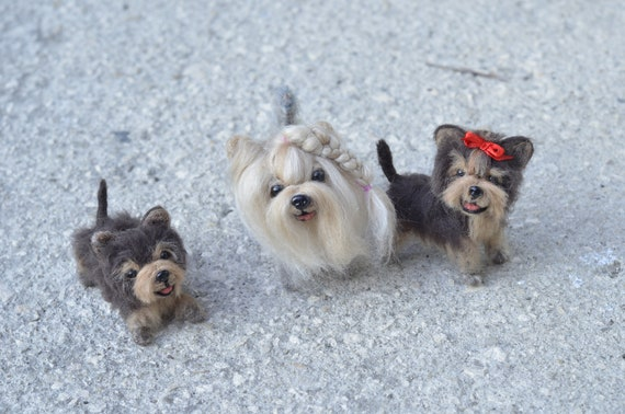 Needle Felt Yorkie Family Mother And Two Babies Yorkshire Terrier Figurines Size Apx 7cm11cm Puppy Art Sculpture 2 8in 4 2in Art Collectibles Figurines Delage Com Br