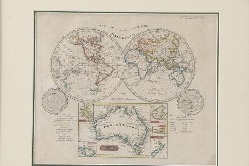 Australia Map 1850.German Map Of The World Circa 1850 Etsy