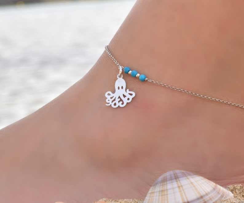 Anklets for Women Anklet with Beads Body Jewelry Sterling Silver Ankle Bracelet for Women Animal Anklet Octopus Anklet