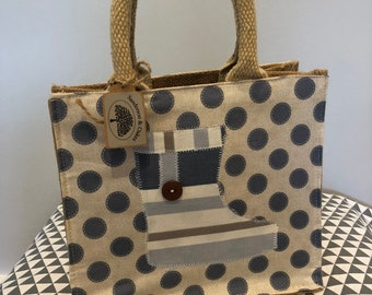 Hand embellished blue spot welly design jute shopping/lunch bag