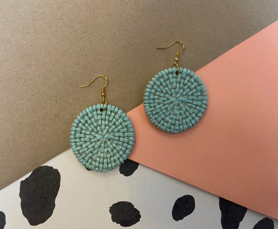 Turquoise & Gold Resin Rattan Style Sterling Silver Earrings