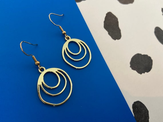 Gold Fused Circle Sterling Silver Earrings