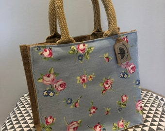 Hand embellished blue pink floral jute shopping/lunch bag