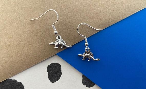 Stegosaurus Dinosaur Pendant Sterling Silver Earrings