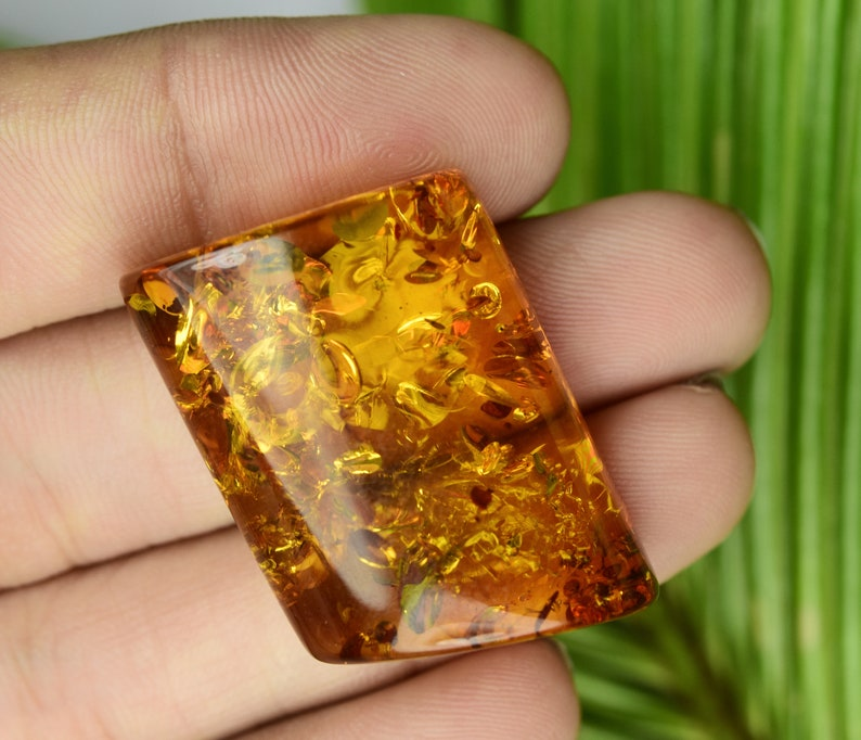 Exclusive High Dome Natural Golden Baltic Amber AAA Gemstone Fancy Cabochon Loose Stones For Making DIY Handmade Jewelry