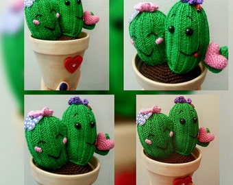 Knitted and crocheted cactus couple in a pot