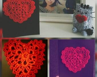 Crochet card heart