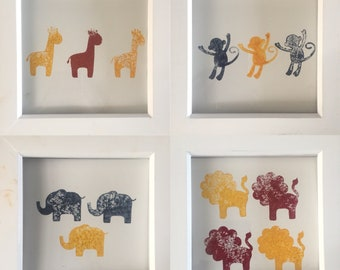 Safari animal hand printed block colour prints for nursery or childs room- UNFRAMED