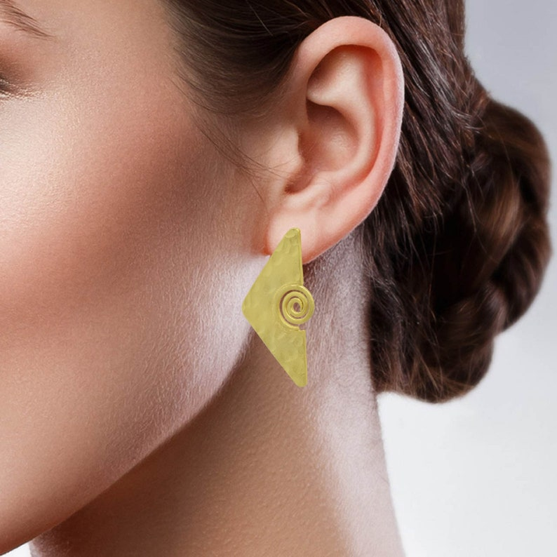 gold plated jewelry unique jewelry gifts for her Texture earrings stud earrings handmade jewelry statement jewelry brass earrings