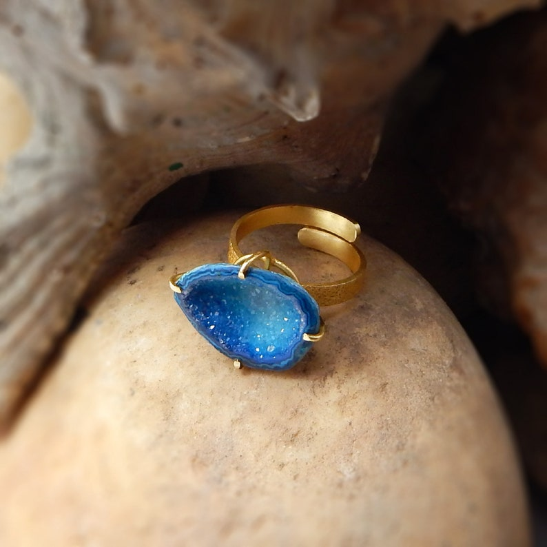 Adjustable rings Druzy rings gifts jewelry women gifts bohemian rings brass rings statement jewelry,Free Shipping gifts for her