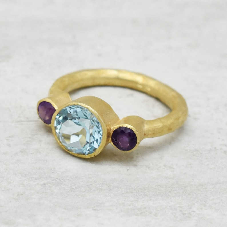 topaz ring birthstone ring gifts jewelry women accessory amethyst ring Three stone ring center stone statement ring 22k gold ring