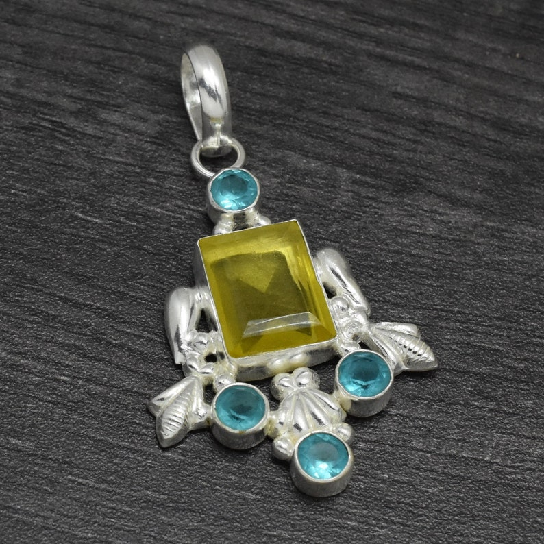 925 sterling silver handmade jewelry pendant for necklaces Lemon Topaz and blue topaz pendant gifts for her statement jewelry