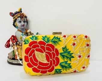 Embroidered Clutch bag, evening clutch bag, zardosi clutch, sling bag, handbag, ladies purse, theboxclutch