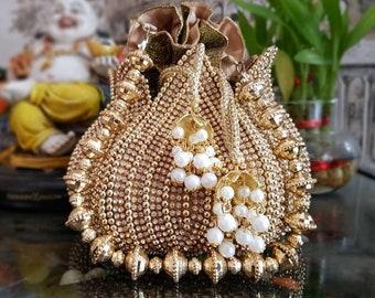 Heavy potli pouches, marriage potli, Embroidered moti potli, batwa bag