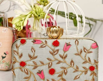 New Embroidered Clutch bag, evening box clutch, Ladies purse , sling bag, handbag, ladies purse, theboxclutch, Handbags, Sling chain bag