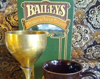 Beautiful Baileys Irish Cream Tin Gift Set-Vintage Baileys Tin-Kahlua Coffee Cup and Brass Chalice