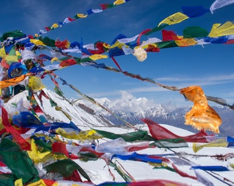 Colorful Nepali Prayer Flags on Annapurna Circuit - Nepal trekking, hiking in nepal, colorful prayer flags, vibrant nepal