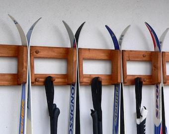 Wall mounted wooden rack for crosscountry skis, Ski rack, Ski storage