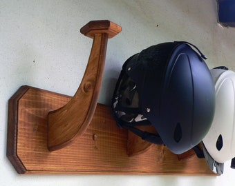 Wall mounted wooden helmet rack