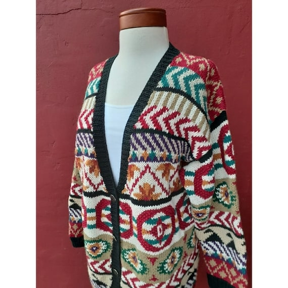 Vintage Oversized Abstract Print Chunky Knit Cardi