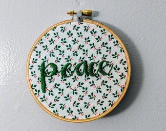 """Christmas decor """"peace"""" hoop"""